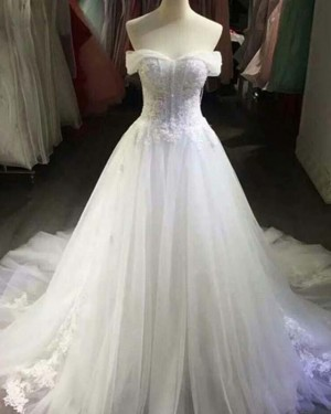 Lace Applique White Off the Shoulder Ball Gown Wedding Dress WD2149