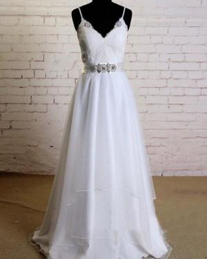 Beading Spaghetti Straps Lace Bodice A-line White Wedding Dress WD2153
