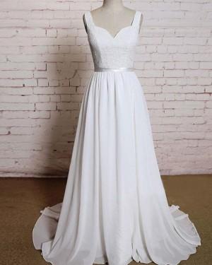 Simple Tulle V-neck Lace Bodice Ivory Wedding Dress WD2154