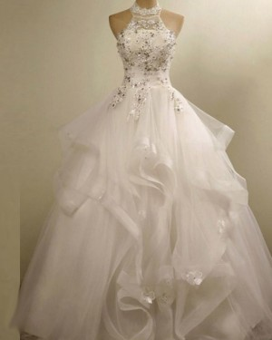 High Neck Ruffle 3D Flower Applique Wedding Gown WD2155