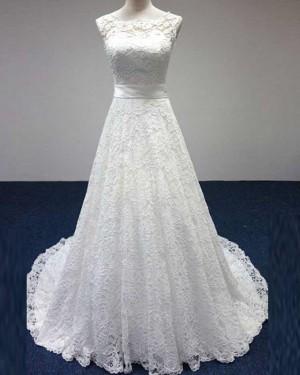 Vintage Lace Jewel Neck Ivory Strapless A-line Wedding Dress WD2158