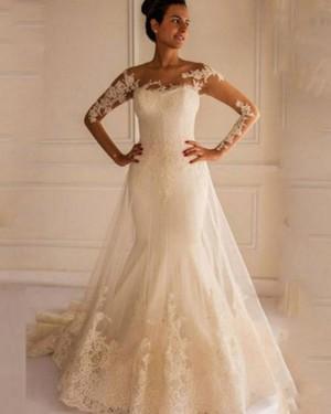 Mermaid Bateau Lace Applique Long Sleeve Wedding Dress WD2159