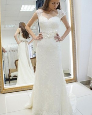 Sheath Queen Anne Lace Ivory Wedding Dress with 3D Flowers WD2160