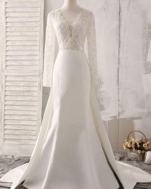 Lace Bodice Satin Deep V-neck Fall White Wedding Dress with Long Sleeves WD2161