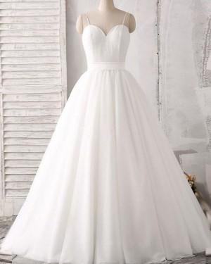 White Spaghetti Straps Pleated Lace Bodice Princess Wedding Dress WD2162