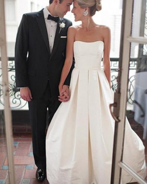 Pleated Ivory Satin Strapless Wedding Dress with Lace Up WD2166