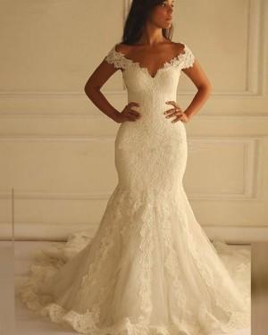 Vintage Lace Ivory Mermaid Off the Shoulder Wedding Dress WD2170