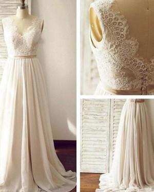 Chiffon V-neck Lace Bodice Pleated Wedding Dress WD2171