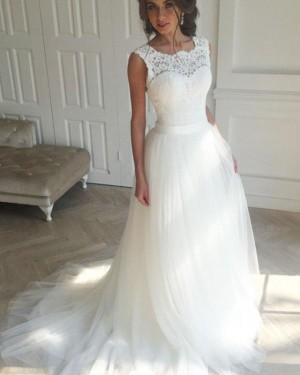 Elegant White Scoop Tulle Lace Bodice Wedding Dress WD2172