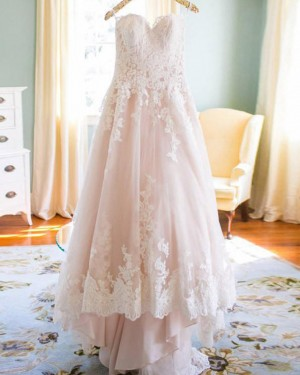 Lace Applique Spaghetti Straps Pink A-line Wedding Dress WD2173