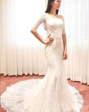 Mermaid Scoop Lace Ivory Wedding Dress with Half Length Sleeves WD2175
