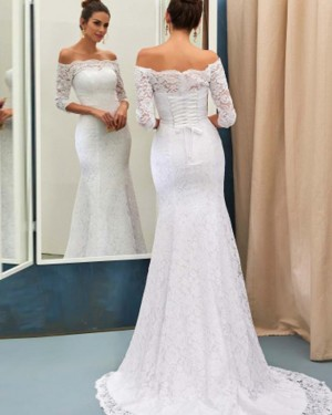 Long Sleeve Off the Shoulder Lace Mermaid White Wedding Dress with Lace Up WD2176