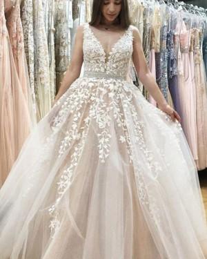 Ivory V-neck Lace Appliqued Wedding Dress with Beading Belt WD2180