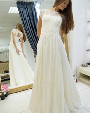 Ivory Elegant Bateau Pleated Lace Bodice Wedding Dress WD2182