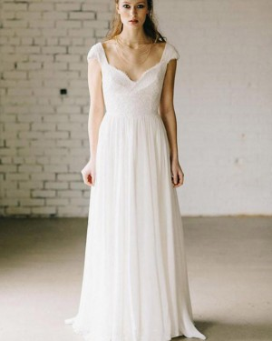 Square Ivory Pleated Sheath Lace Bodice Wedding Dress WD2183