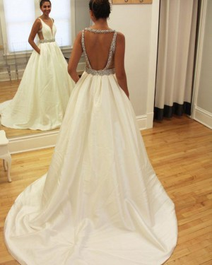 Satin Beading Deep V-neck Simple Wedding Gown with Pockets WD2186