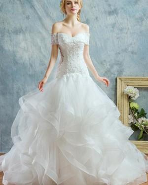 Beading Ruffle Off the Shoulder White Mermaid Wedding Dress WD2187