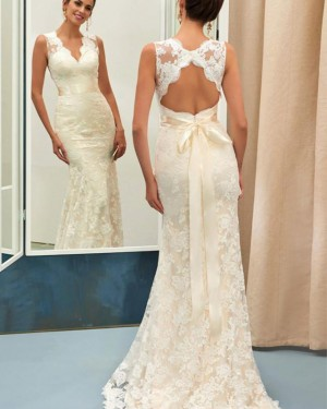 Mermaid Vintage V-neck Ivory Lace Wedding Dress with Bowknot WD2190