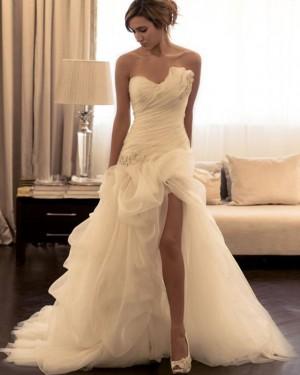 Ivory Mermaid Asymmetric Ruched Beading Wedding Dress with Side Slit WD2191