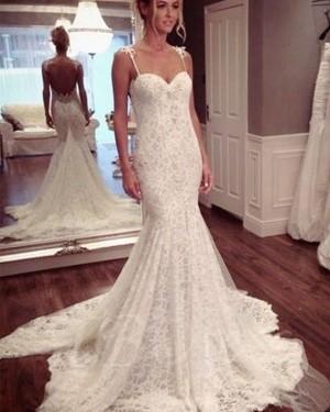 Lace Mermaid Spaghetti Straps Ivory Wedding Dress WD2193