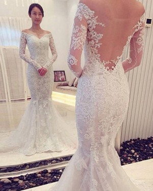 White Off the Shoulder Lace Wedding Dress with Long Sleeves WD2194