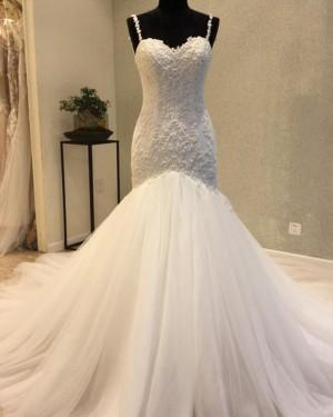Elegant Mermaid Square Pleated Beading Wedding Dress WD2200