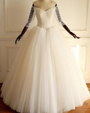 Tulle Pleated Off the Shoulder Ball Gown Wedding Dress with 3/4 Length Sleeves WD2211