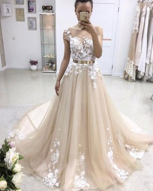 Pleated Jewel Champagne Lace Applique Wedding Dress with Short Sleeves WD2220
