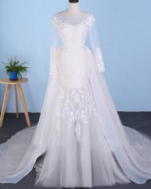 Mermaid Long Sleeve Bateau Lace Applique Tulle Wedding Dress with Detachable Skirt WD2227