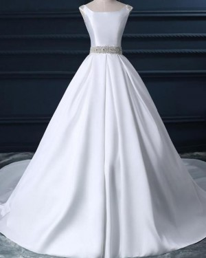 White Satin Fall Scoop Simple Wedding Dress with Beading Belt WD2231