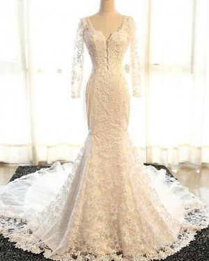 Mermaid Scoop Vintage Lace Wedding Dress with Long Sleeves WD2233