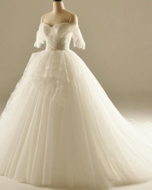 White Ruched Off the Shoulder Ball Gown Wedding Dress WD2236