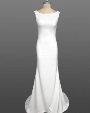 White Mermaid Scoop Simple Satin Wedding Dress WD2237