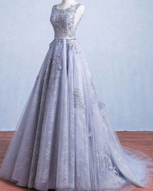 Lace Light Blue Scoop Neck Appliqued Pleated Wedding Dress WD2239