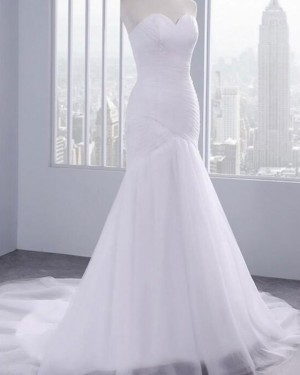 Mermaid Tulle Sweetheart Ruched White Wedding Dress WD2244