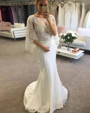Scoop Ivory Mermaid Lace Bodice Wedding Dress with Half Length Sleeves WD2246