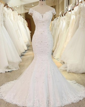 Off the Shoulder Lace Applique White Beading Mermaid Wedding Dress WD2248