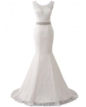 Lace Deep V-neck Vintage Mermaid Wedding Dress with Belts WD2251