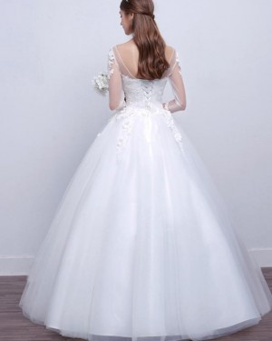Lace Applique White A-line Tulle Bateau Wedding Dress with Long Sleeves WD2253
