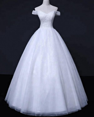 Sequin Off the Shoulder White Beading Wedding Gown WD2257
