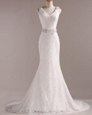 Lace V-neck Mermaid Vintage Wedding Dress with Beading Belt WD2258