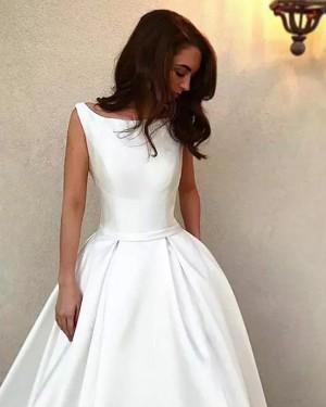 Bateau White Satin A-line Simple Wedding Dress WD2262