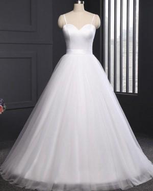 Tulle Simple Spaghetti Straps White A-line Wedding Dress WD2263