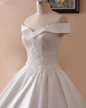 A-line Off the Shoulder Lace Applique Satin Fall Wedding Dress WD2264