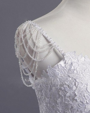 Scoop Lace Appliqued White Princess Tulle Wedding Dress WD2266