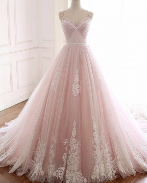 Pink Double Ruched Applique Spaghetti Straps Wedding Gown WD2267