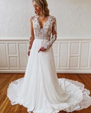 White Lace Bodice V-neck Wedding Dress with Long Sleeves WD2301