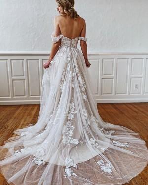 Ivory Square Lace Applique A-line Wedding Dress WD2302