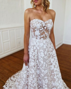 Sweetheart White Lace A-line Wedding Dress WD2303