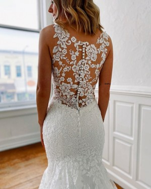Lace Strapless Jewel Neckline Mermaid Wedding Dress WD2304